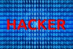 Tecnologia abstrata do código de computador binário e do fundo de programação com palavra do hacker imagens de stock royalty free