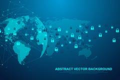 Tecnologia abstrata futurista do blockchain do fundo Conexão de Internet global Par a espreitar negócio da rede ilustração stock