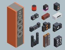 Tecnologia acústica estereofônica do equipamento do subwoofer do jogador dos altifalante da música do vetor 3d do sistema de som  Fotografia de Stock