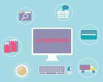 Tecnologia ajustada do comércio eletrônico do conceito da compra em linha  Imagens de Stock