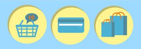 Tecnologia ajustada do comércio eletrônico do conceito da compra em linha  Imagem de Stock