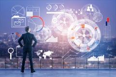 Tecnologia, analítica e conceito da finança foto de stock royalty free