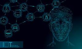 Tecnologia assistente virtual do serviço do reconhecimento de voz Apoio do rob? da intelig?ncia artificial do AI Cara masculina d ilustração royalty free
