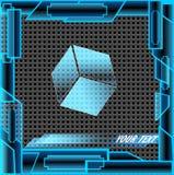 Tecnologia astratta blu-chiaro cubica Fotografia Stock