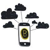 Tecnologia astratta del bitcoin dell'illustrazione di vettore Immagine Stock