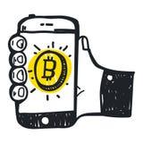 Tecnologia astratta del bitcoin dell'illustrazione di vettore Immagini Stock
