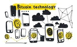 Tecnologia astratta del bitcoin dell'illustrazione di vettore Fotografia Stock Libera da Diritti