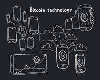 Tecnologia astratta del bitcoin dell'illustrazione di vettore Fotografie Stock Libere da Diritti