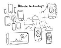 Tecnologia astratta del bitcoin dell'illustrazione di vettore Fotografia Stock