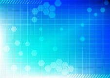 Tecnologia astratta del fondo su colore blu Fotografia Stock