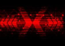 Tecnologia astratta della freccia sul concetto rosso della freccia Immagine Stock Libera da Diritti