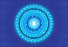 Tecnologia astratta di potere della luce del cerchio sul vettore futuristico moderno del fondo di progettazione della maglia di e Fotografia Stock Libera da Diritti