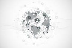 Tecnologia astratta futuristica del blockchain del fondo Collegamento di rete internet globale Affare della rete peer-to-peer illustrazione vettoriale