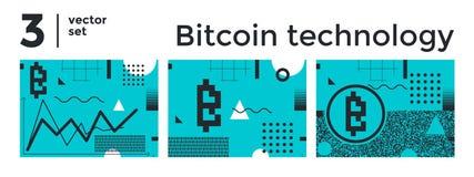 Tecnologia astratta stabilita del bitcoin del fondo di vettore Immagini Stock Libere da Diritti