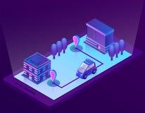 Tecnologia astuta isometrica dell'automobile di vettore per lo smartphone illustrazione vettoriale