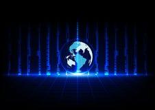 Tecnologia blu astratta e mondo di concetto con la prospettiva di griglie Immagini Stock Libere da Diritti