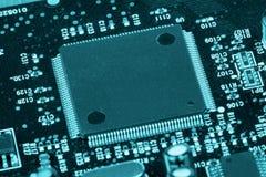 Tecnologia blu del chip di computer Fotografia Stock