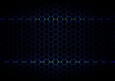 Tecnologia blu del ligth di esagono astratto sul backgroun nero di colore Fotografia Stock