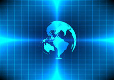 Tecnologia blu del raggio del mondo di Abstrack su fondo blu Fotografie Stock Libere da Diritti