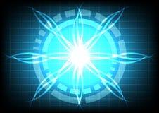 Tecnologia blu di effetto del raggio luminoso del cerchio astratto Immagini Stock