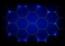 Tecnologia blu di esagono del fondo astratto Desi di concetto di vettore Immagini Stock