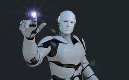 Tecnologia branca do robô que está apontando a algo na frente dele tecnologia no futuro, em um fundo preto ilustração do vetor