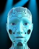 Tecnologia, cabeça do robô da mulher, máquina ilustração stock