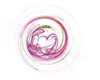 Tecnologia colorida abstrata ou fundo científico, imagem gerada por computador Contexto do Fractal com círculo e coração do estil fotos de stock royalty free