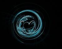 Tecnologia colorida abstrata ou fundo científico, imagem gerada por computador Contexto do Fractal com círculo e coração do estil imagem de stock royalty free