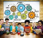 Tecnologia Conce de Team Functionality Industry Teamwork Connection imagens de stock