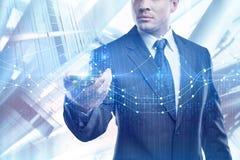 Tecnologia, concetto online di analisi, di finanza e della gestione fotografie stock libere da diritti
