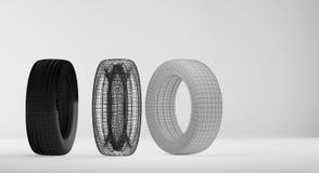 Tecnologia 3d-illustration dos pneus de carro Ilustração Royalty Free