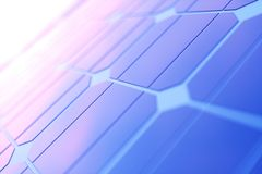 tecnologia da geração das energias solares da rendição 3D Energia alternativa Módulos do painel de bateria solar com por do sol c Foto de Stock Royalty Free