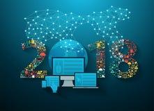 tecnologia da inovação do negócio do ano 2018 novo ilustração royalty free