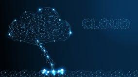 Tecnologia da nuvem Conceito de Cloud Computing, de Big Data ou de Cloud Computing Fundo digital abstrato Nuvem de Wireframe ilustração do vetor