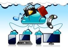Tecnologia da nuvem dos desenhos animados Ilustração Stock