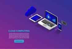 Tecnologia da nuvem e conceito modernos isométricos dos trabalhos em rede Negócio da tecnologia da nuvem da Web Serviços de dados ilustração do vetor