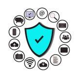 A tecnologia da proteção de dados comerciais e a segurança da rede da nuvem, ícones ajustaram-se, azul, fundo branco Foto de Stock