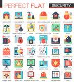 A tecnologia da segurança e da segurança do cyber vector símbolos lisos complexos do conceito do ícone para o projeto infographic Fotos de Stock Royalty Free