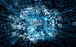 Tecnologia de Blockchain e conceito da rede Texto da corrente de bloco e imagem de stock