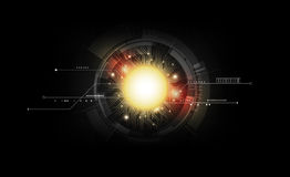 Tecnologia de circuito eletrônico futurista abstrata no fundo escuro, vetor transparente ilustração royalty free
