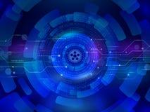 Tecnologia de comunicação alta do computador no fundo azul d Foto de Stock