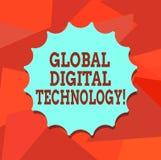 Tecnologia de Digitas global do texto da escrita da palavra Conceito do negócio para a informação digitada sob a forma do selo da ilustração royalty free