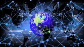 Tecnologia de rede do mundo Uma comunica??o da tecnologia ilustração stock