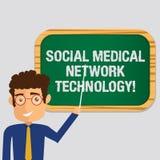 Tecnologia de rede médica social do texto da escrita Posição moderna em linha do homem da conexão dos trabalhos em rede do signif ilustração royalty free
