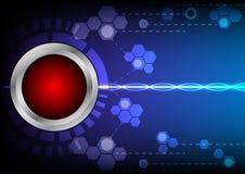Tecnologia del bottone di Abstrack ed effetto della luce rossi sul backgrou blu Fotografia Stock Libera da Diritti
