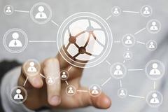Tecnologia del bottone o segno globale di affari della rete sociale fotografie stock