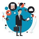 Tecnologia del concetto piano dell'illustrazione di affari Immagine Stock