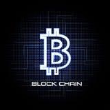 Tecnologia del fondo dell'illustrazione di vettore di Bitcoin e della catena di blocco Immagini Stock