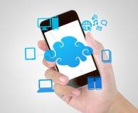 Tecnologia del telefono cellulare di computazione della nuvola Fotografie Stock Libere da Diritti